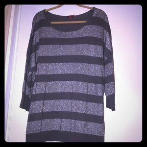 Merona Sz 4x sweater grey/silver striped
